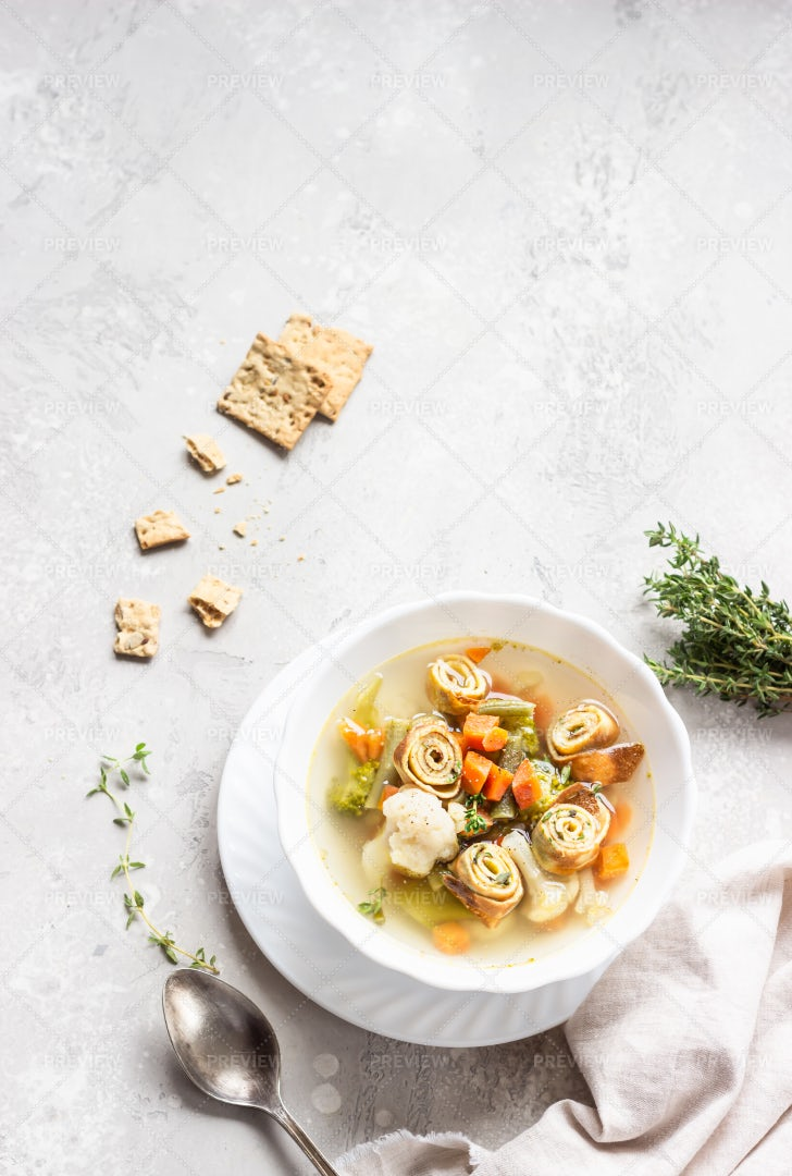Traditional German Vegetable Soup: Stock Photos