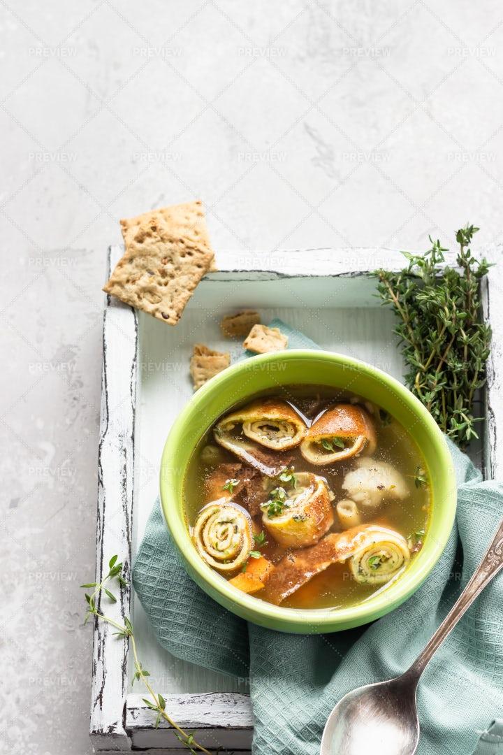 Soup With Egg Pancakes: Stock Photos
