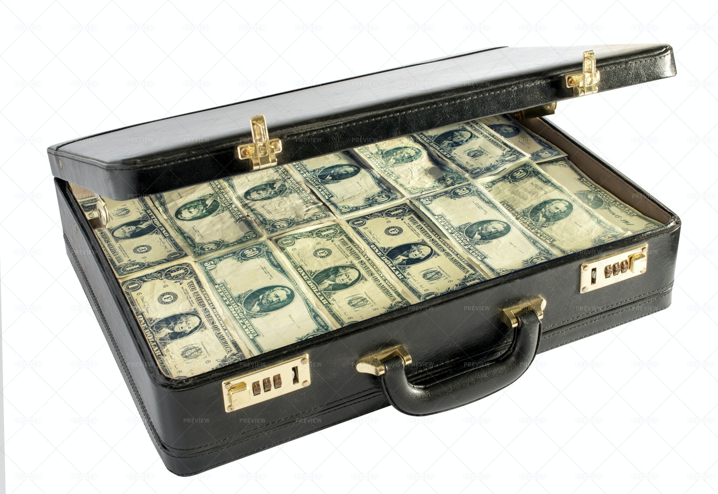 Briefcase Packed With Money: Stock Photos