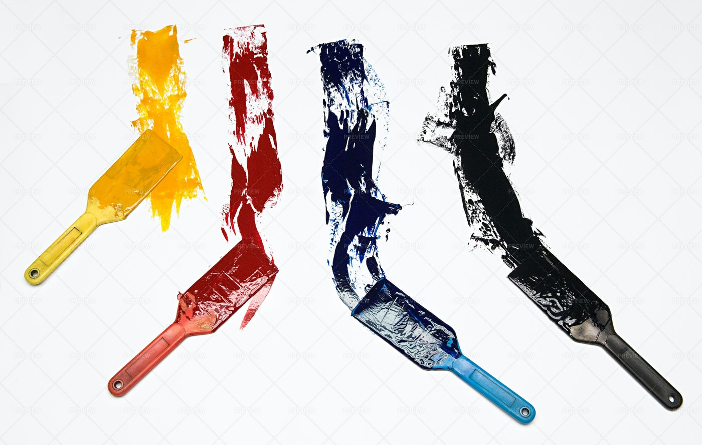 Brushes With Assorted Colored: Stock Photos