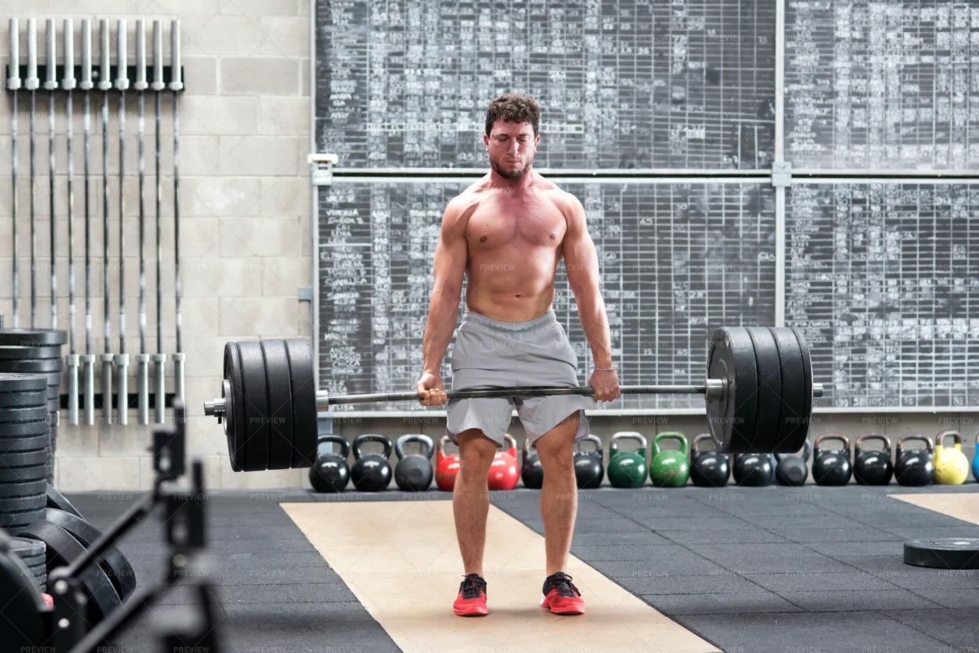 Athlete Doing A Deadlift: Stock Photos