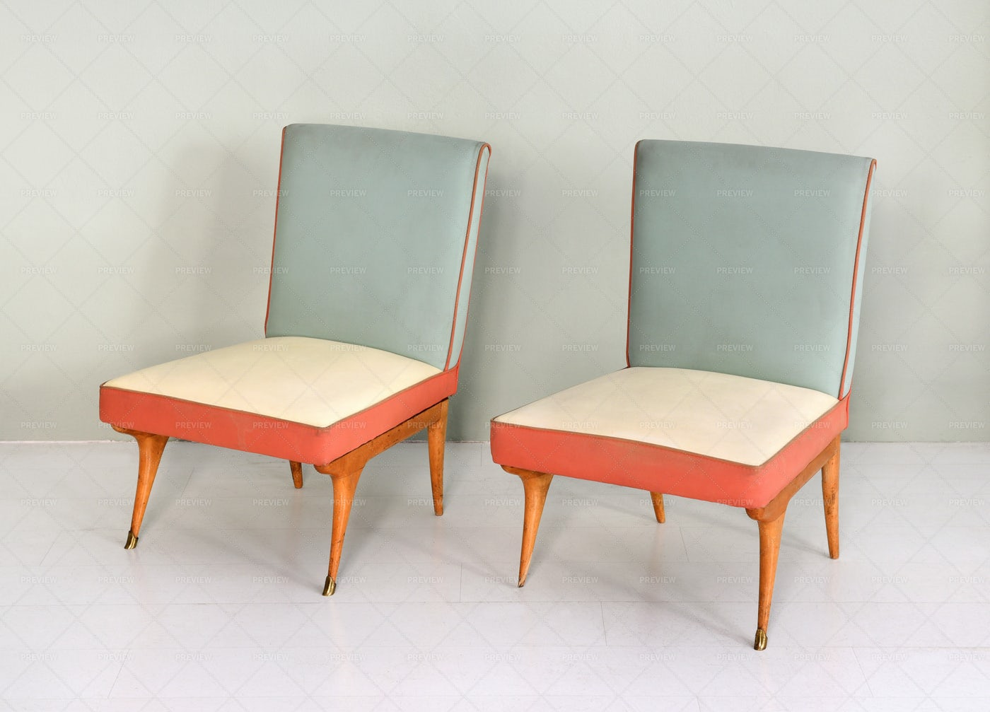 Vintage Padded Chairs: Stock Photos