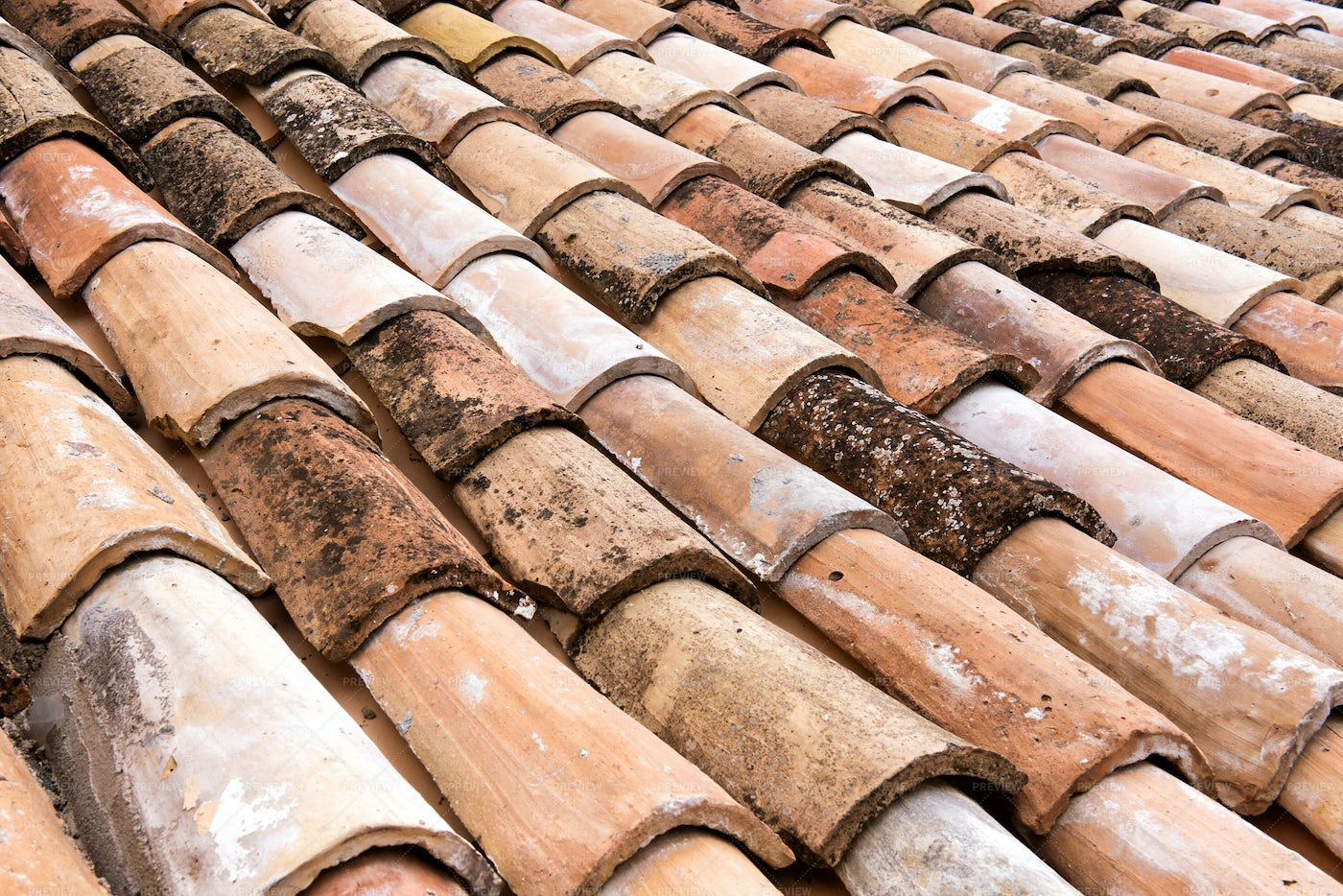 Old Clay Roofing Tiles: Stock Photos