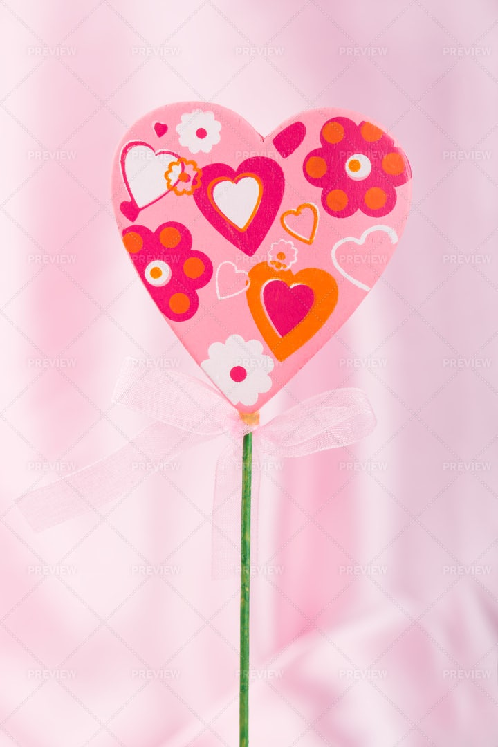 Hand Crafted Pink Heart: Stock Photos