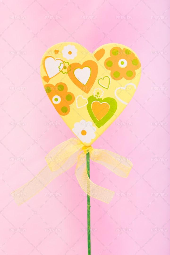 Handmade Yellow Heart: Stock Photos