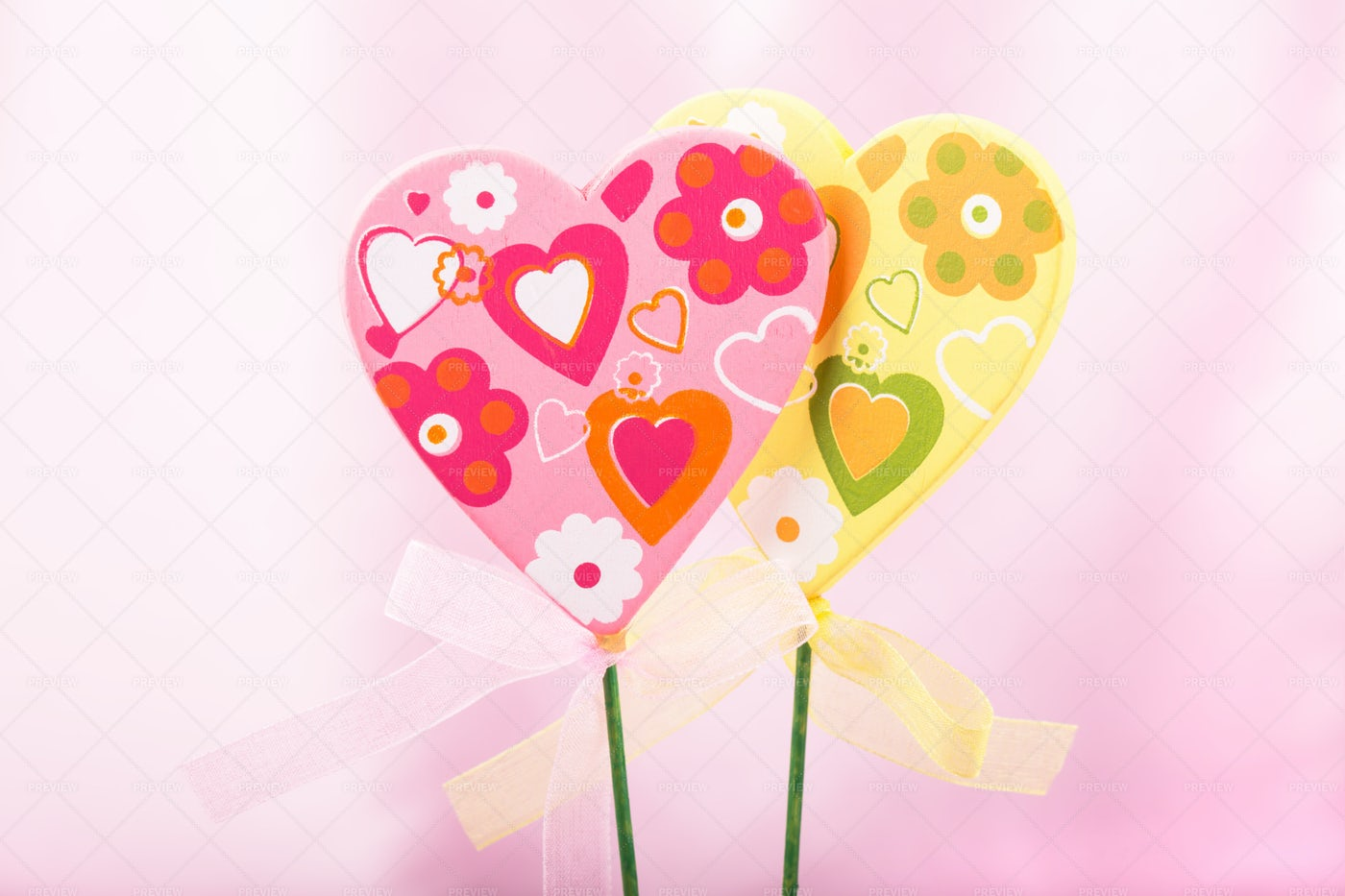 Pink And Yellow Hearts: Stock Photos