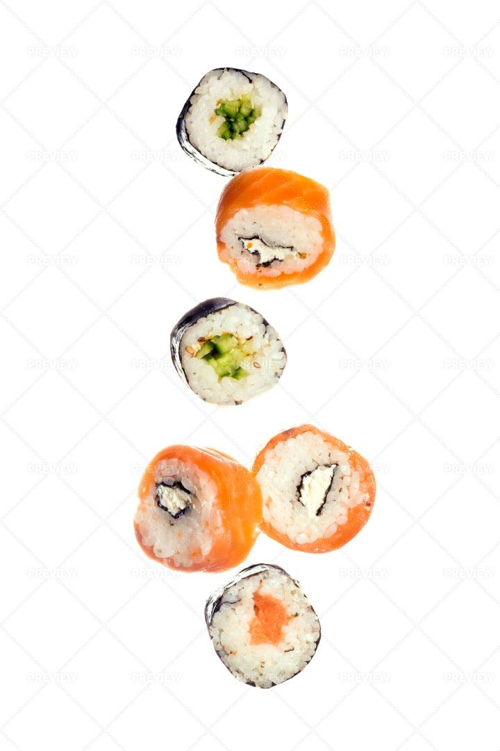 Falling Sushi Maki Rolls: Stock Photos