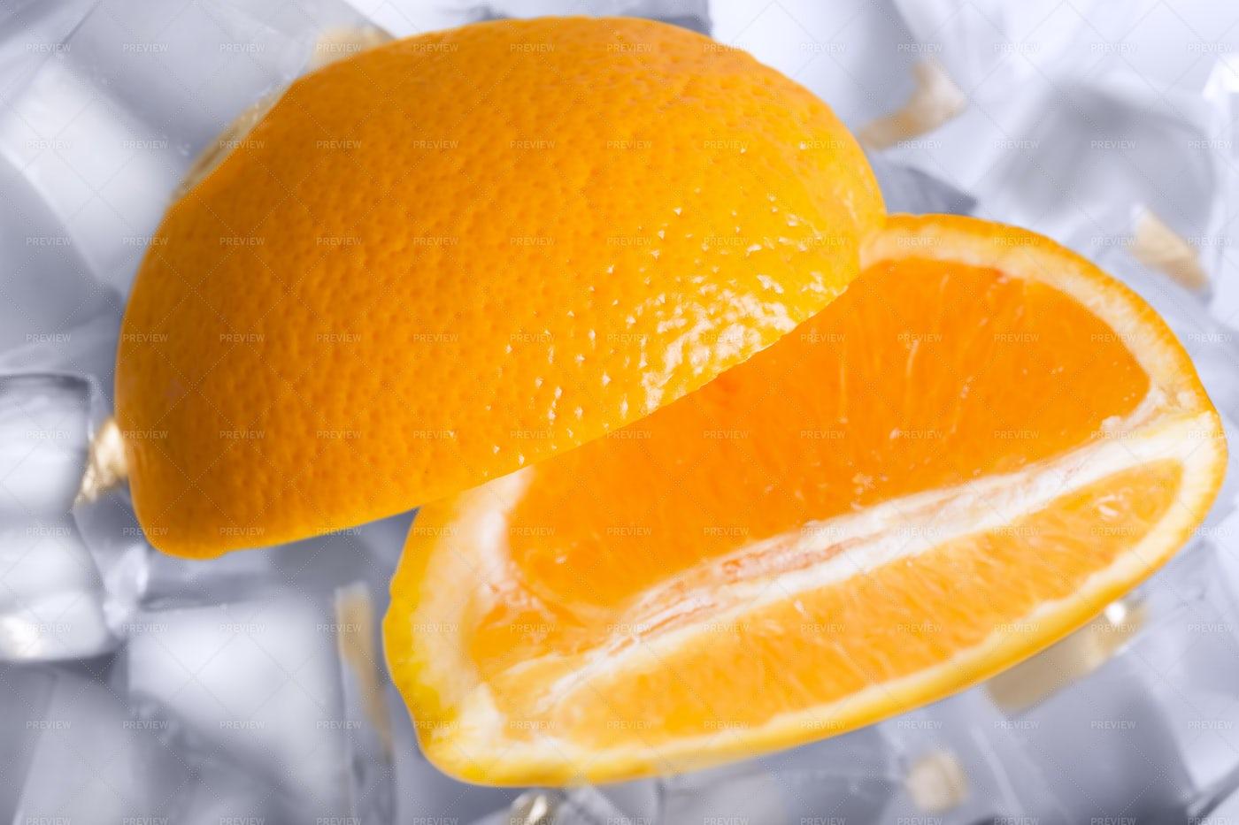 Orange Slices On Ice: Stock Photos