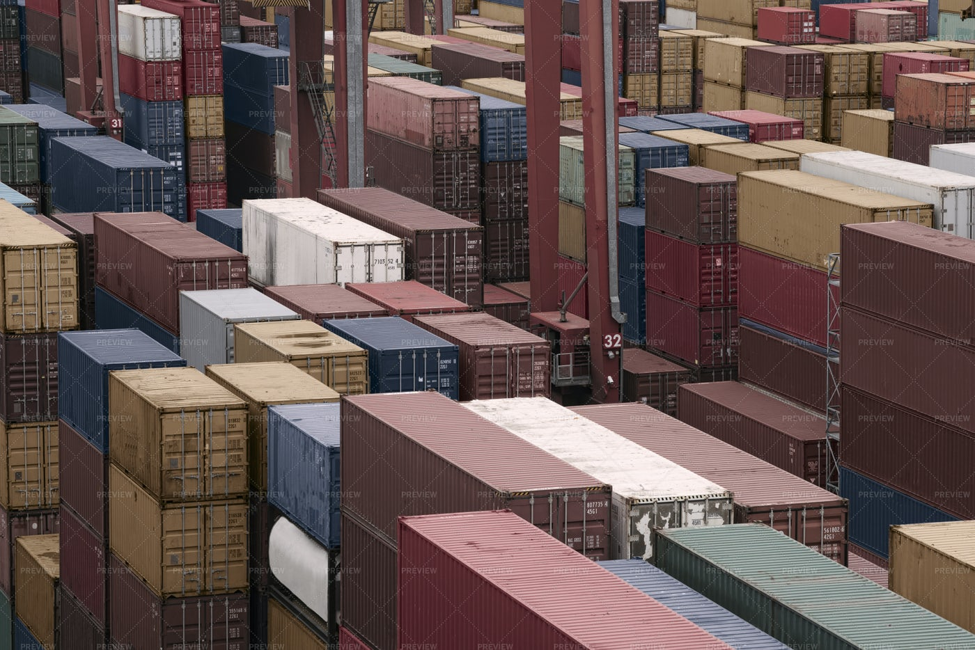 Containers In Cargo Shipyard: Stock Photos