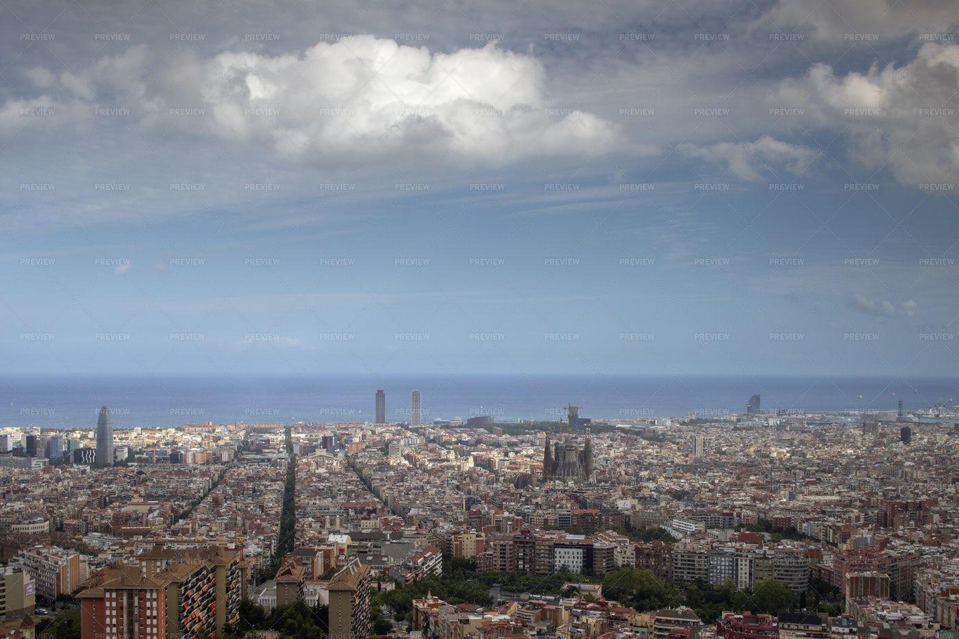 Barcelona Skyline View: Stock Photos