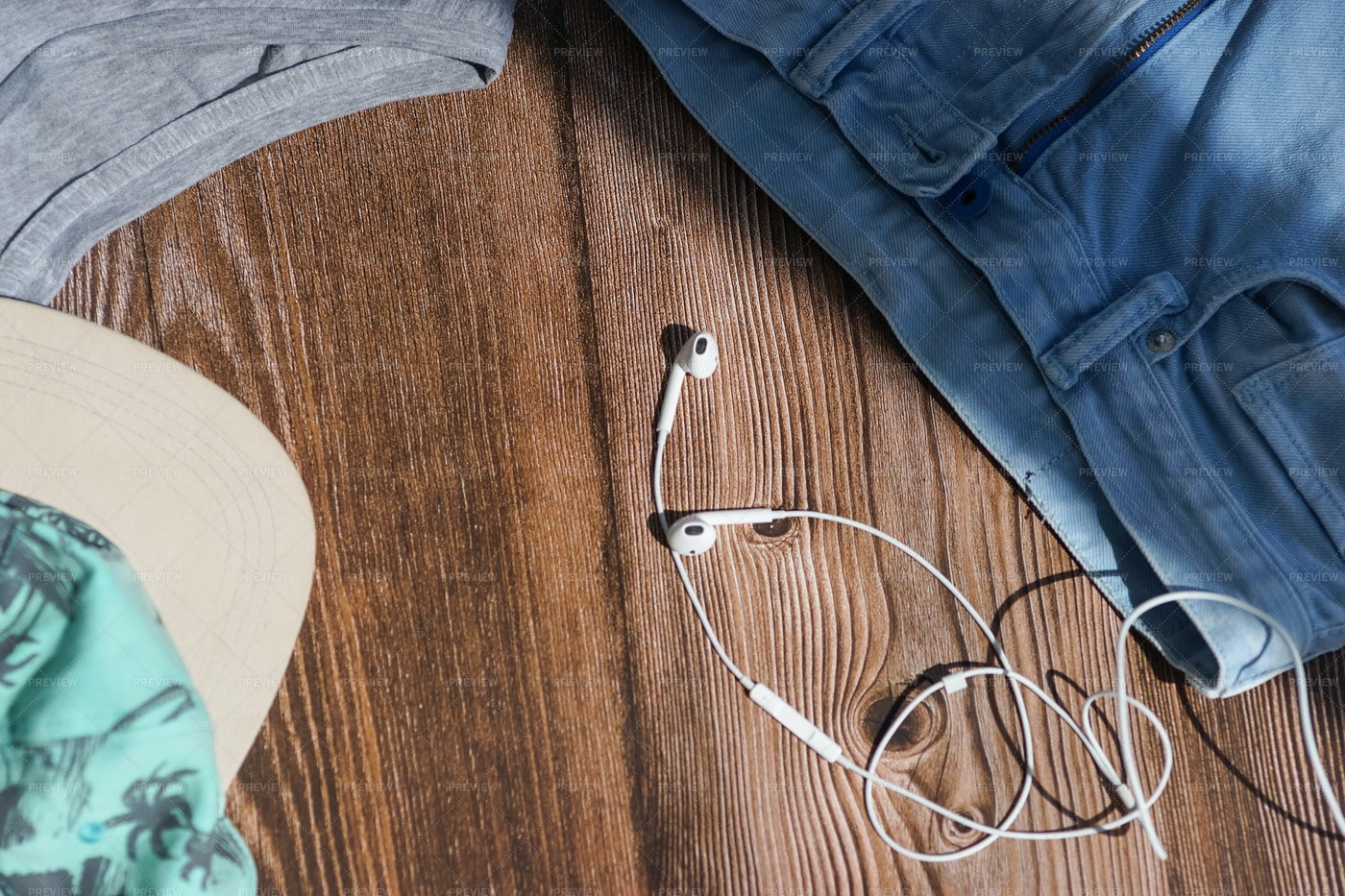 Headphones And Clothes: Stock Photos