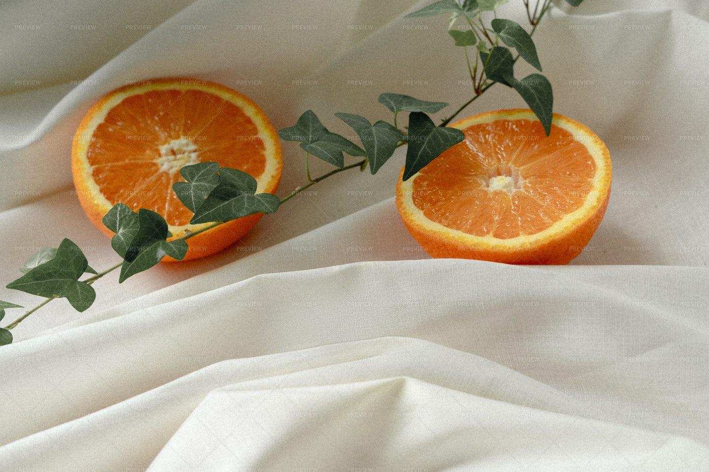 Oranges On A Tablecloth: Stock Photos