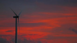Wind Farm Propeller At Sunset: Stock Video