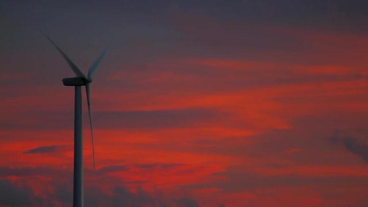 Wind Farm Propeller At Sunset: Stock Video