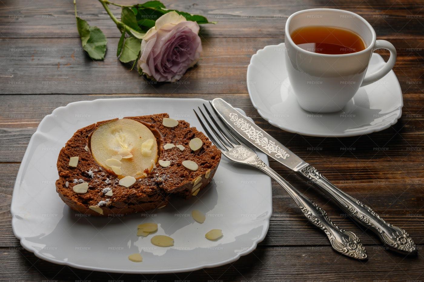Pear Cake And Tea: Stock Photos