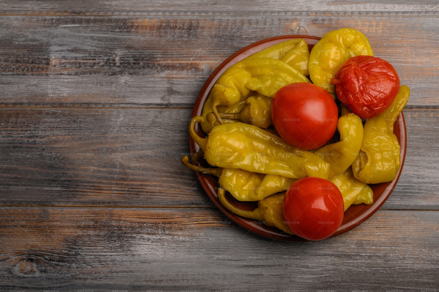Pickled Peppers And Tomatoes: Stock Photos