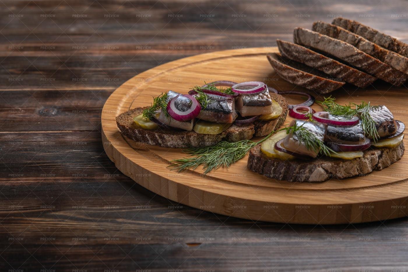 Toasts With Herring: Stock Photos