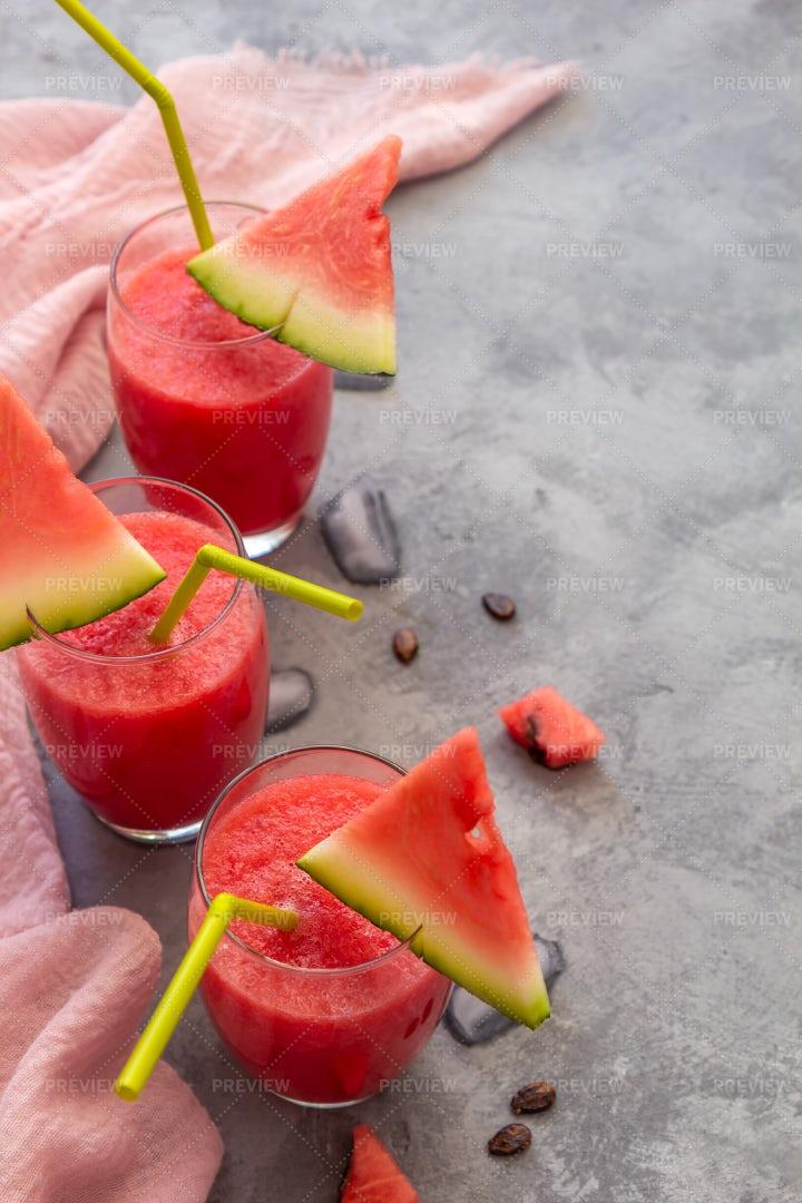 Three Watermelon Smoothies: Stock Photos