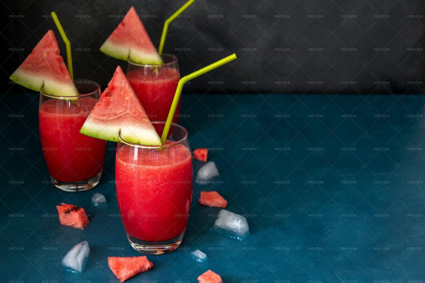 Watermelon Smoothies With Straws: Stock Photos