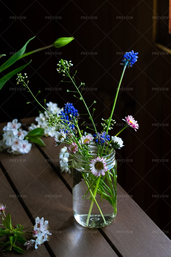 Spring Flowers In A Jar: Stock Photos