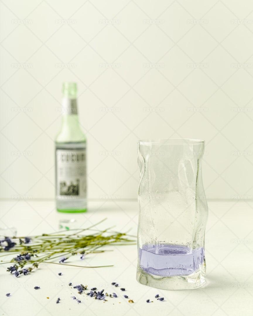 Lavender Lemonade In Highball Glass: Stock Photos