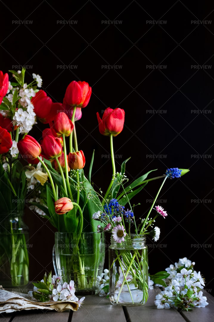 Bouquets Of Red Tulips: Stock Photos