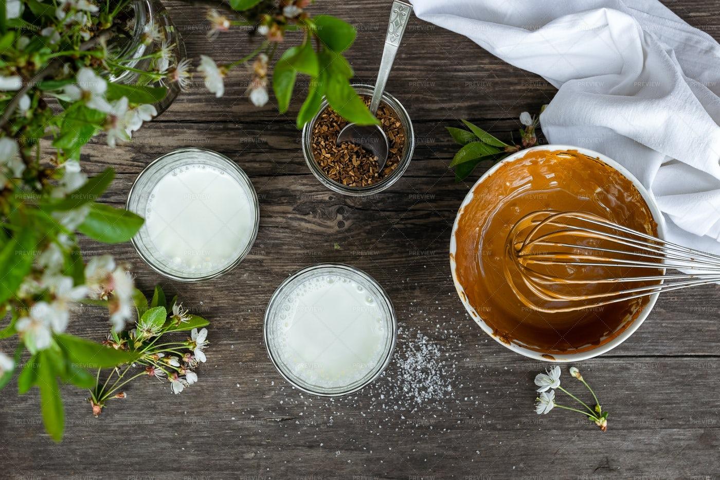 Whisking Dalgona Coffee: Stock Photos