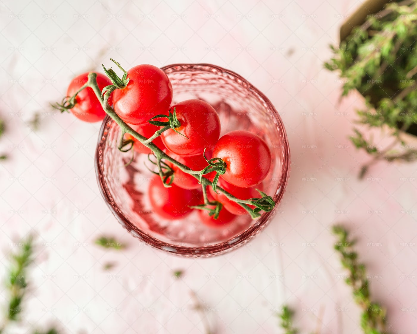 Cherry Tomatoes In A Glass: Stock Photos