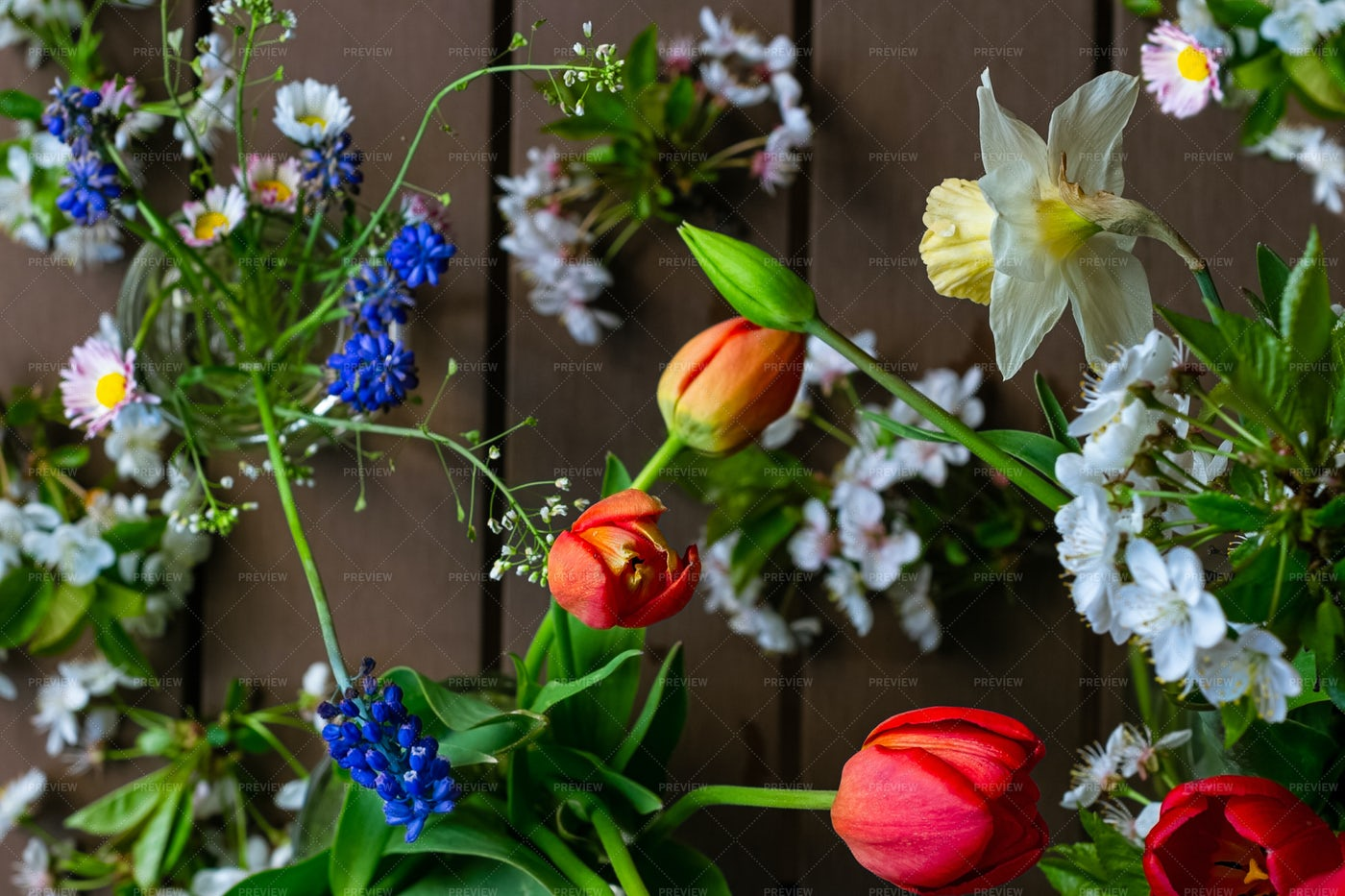 Tulips Amongst The Flowers: Stock Photos