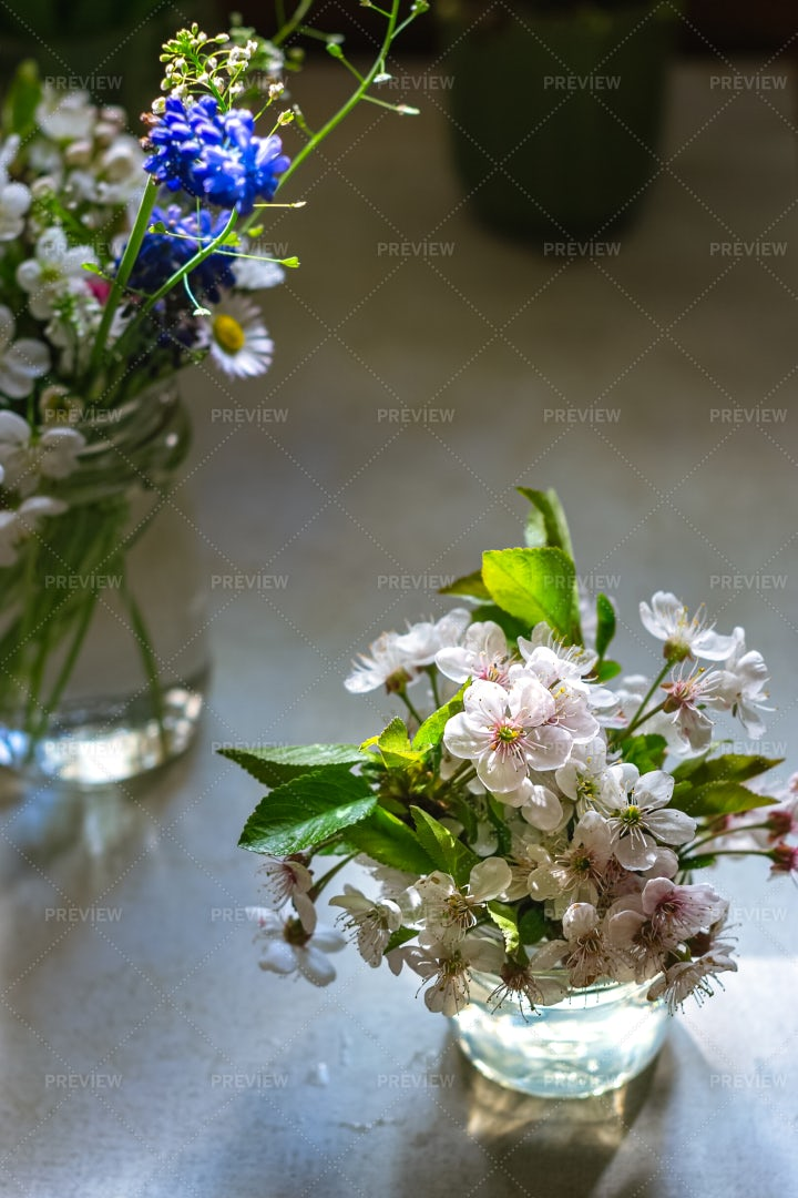Bouquets In Glasses: Stock Photos