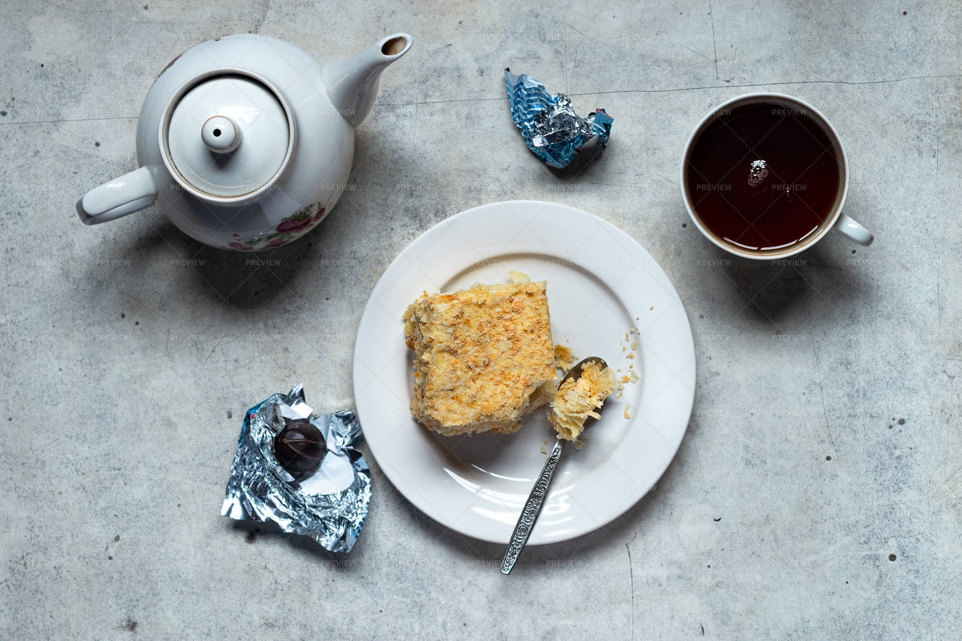 Tea And Mille-Feuille: Stock Photos