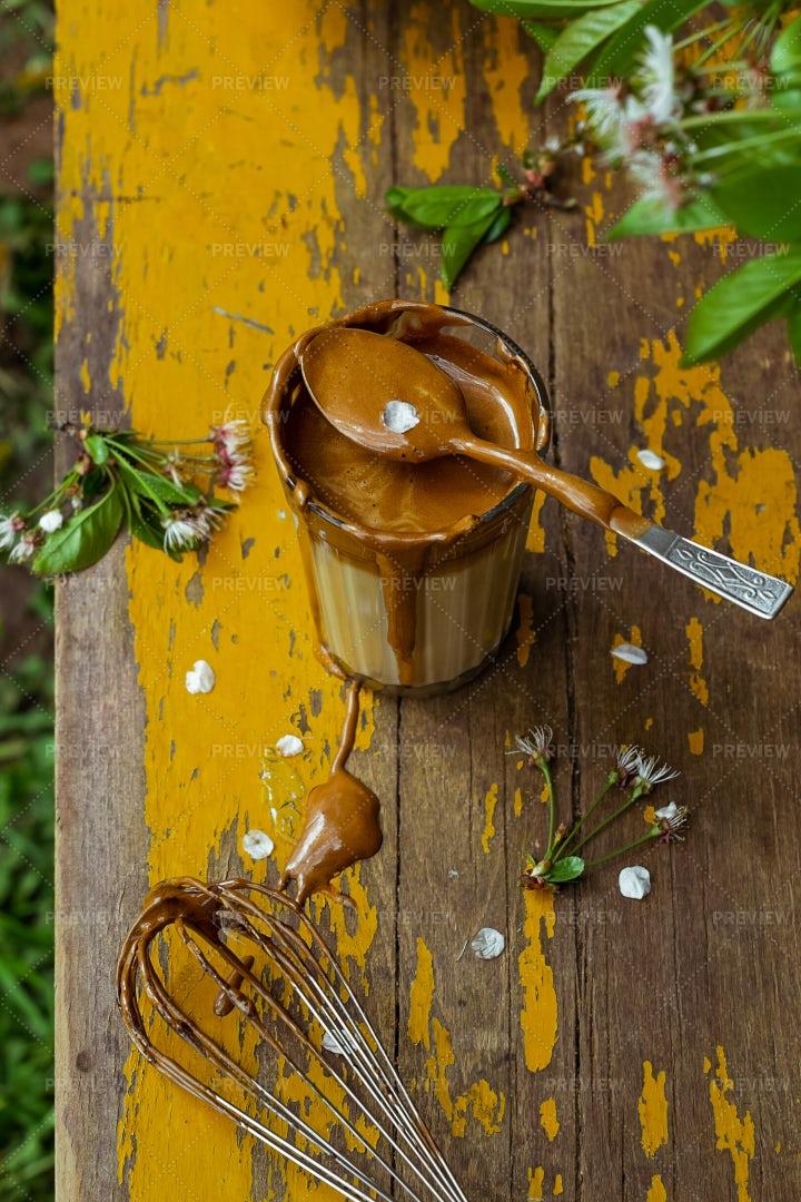 Preparing Dalgona Coffee: Stock Photos