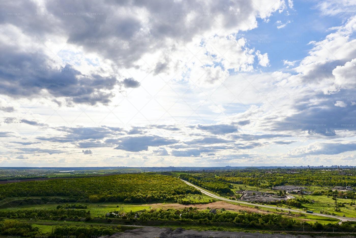 Cloudy Sky Over The Fields: Stock Photos