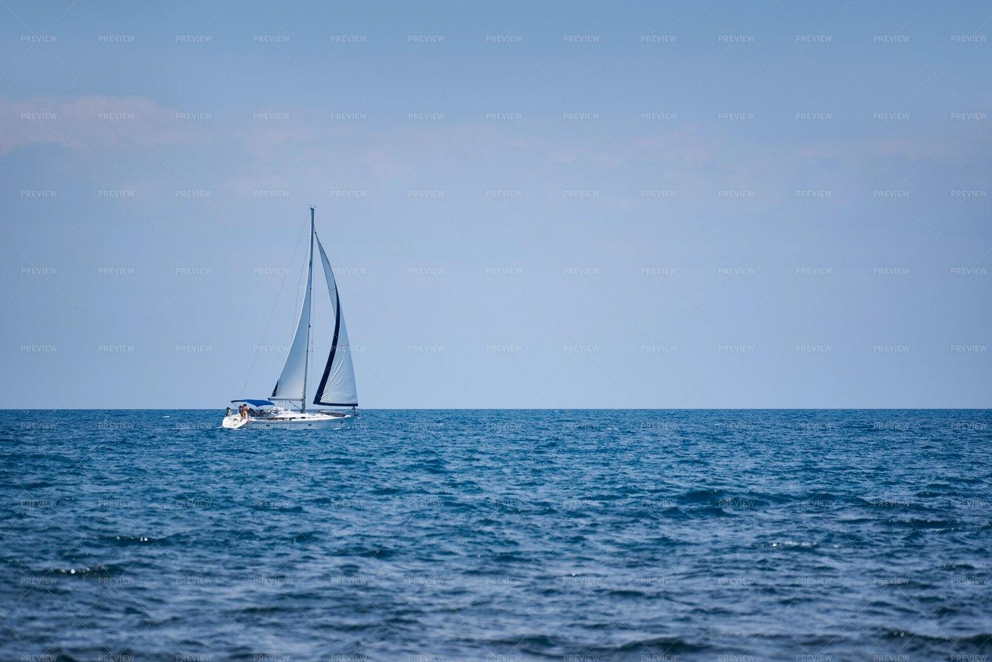 Yacht On The Open Sea: Stock Photos