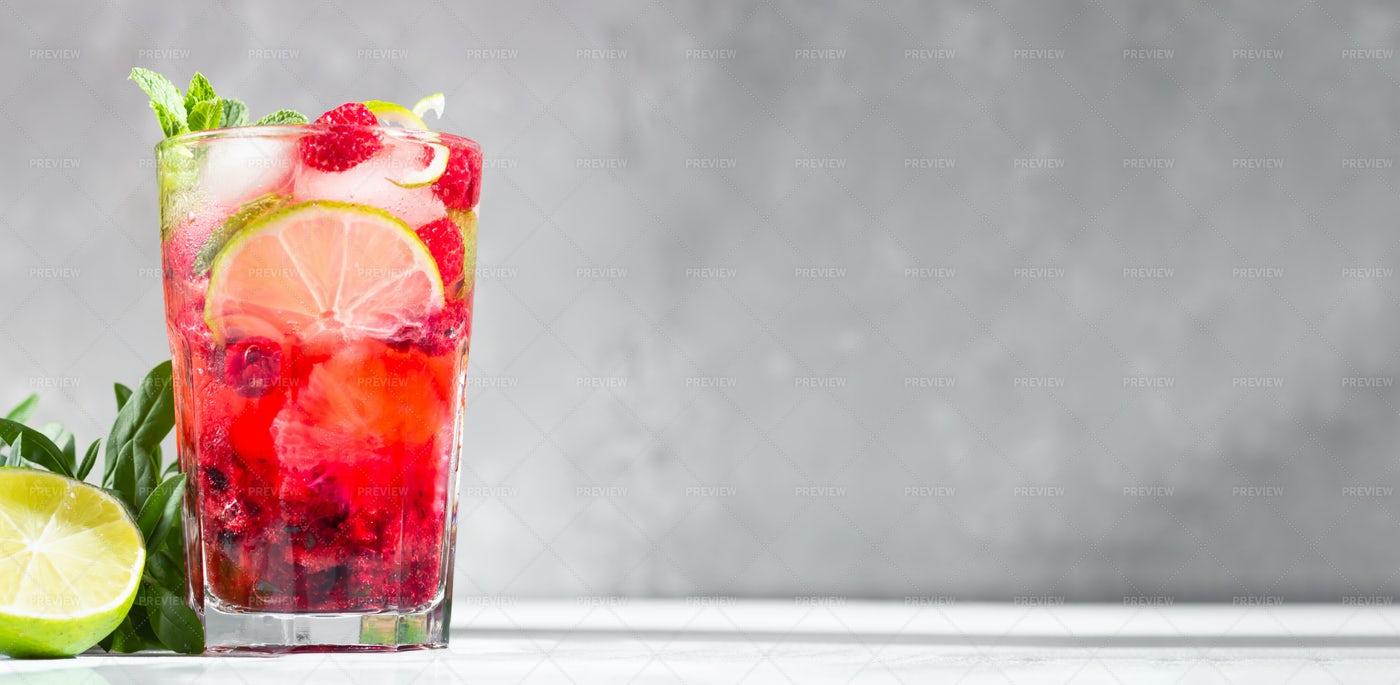 Lemonade With Raspberries: Stock Photos