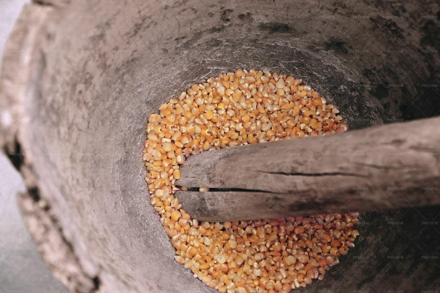 Corn And Pestle Inside Mortar: Stock Photos