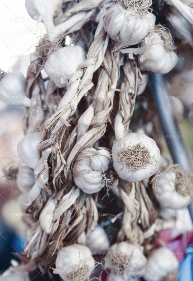 Hanging Garlic Bulbs: Stock Photos
