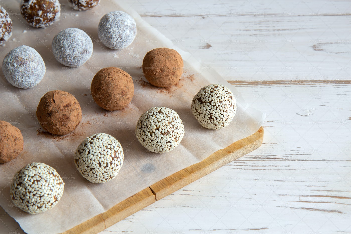 Rows Of Snack Balls: Stock Photos