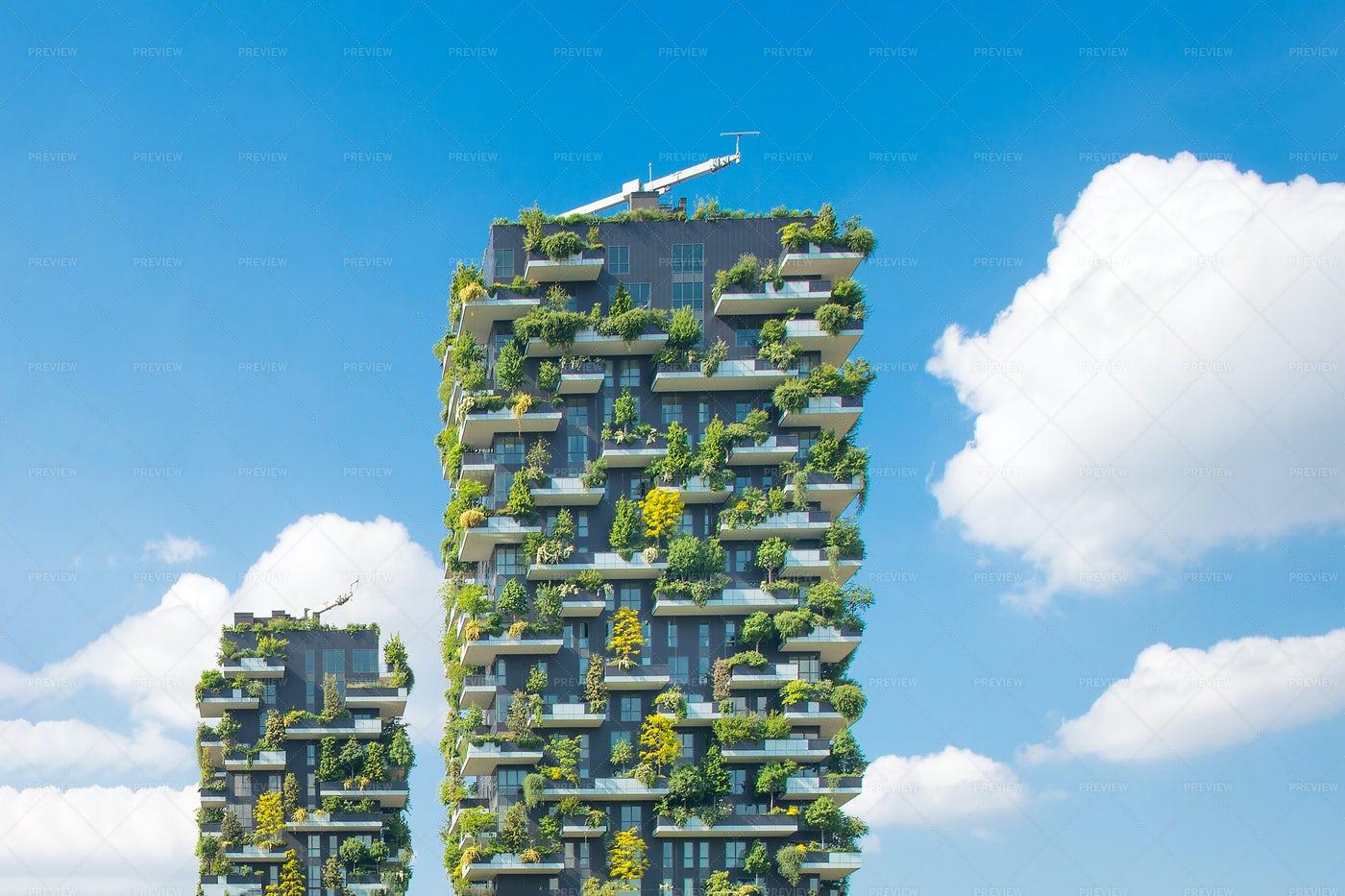 Vertical Gardens In Milan: Stock Photos