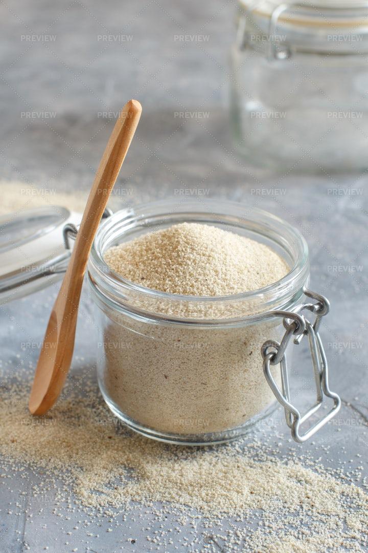 Glass Jar Of Fonio Seeds: Stock Photos