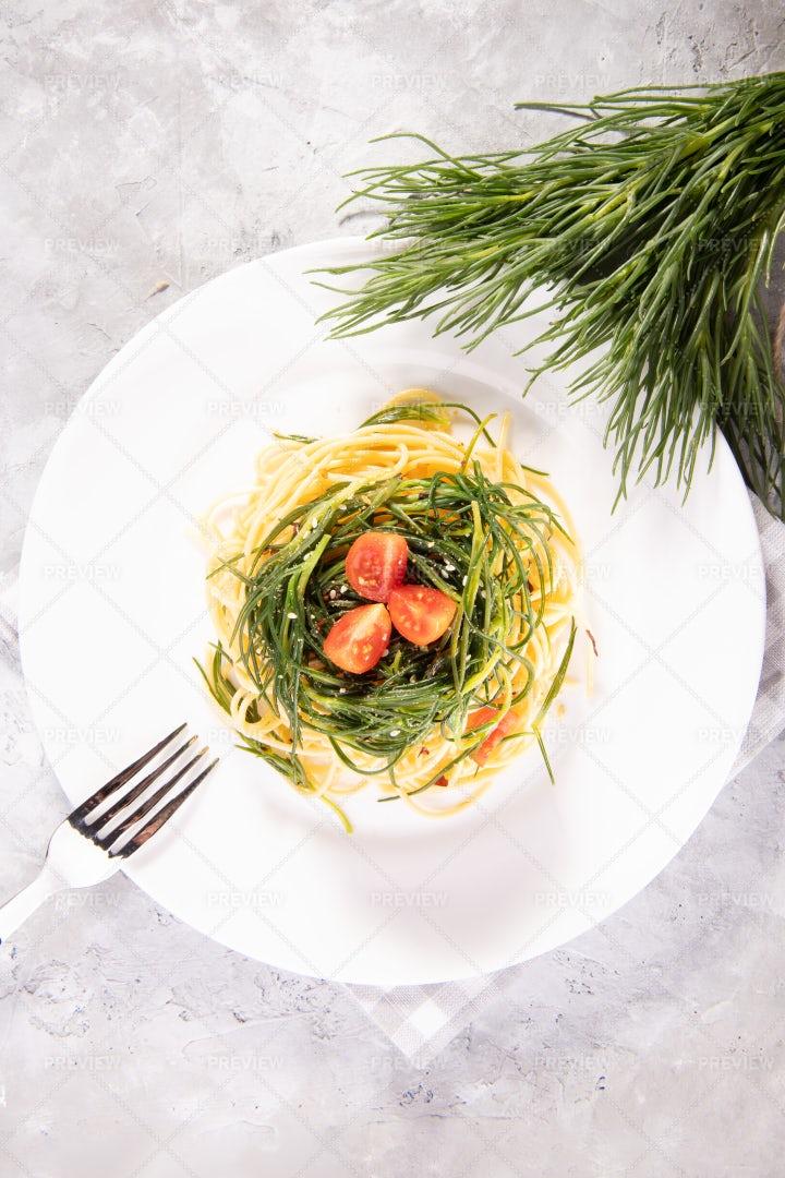 Spaghetti With Agretti, Italian Dish: Stock Photos