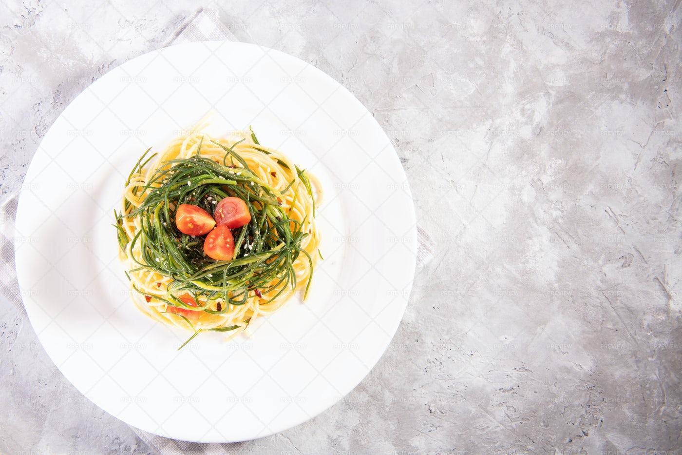 Spaghetti With Agretti: Stock Photos
