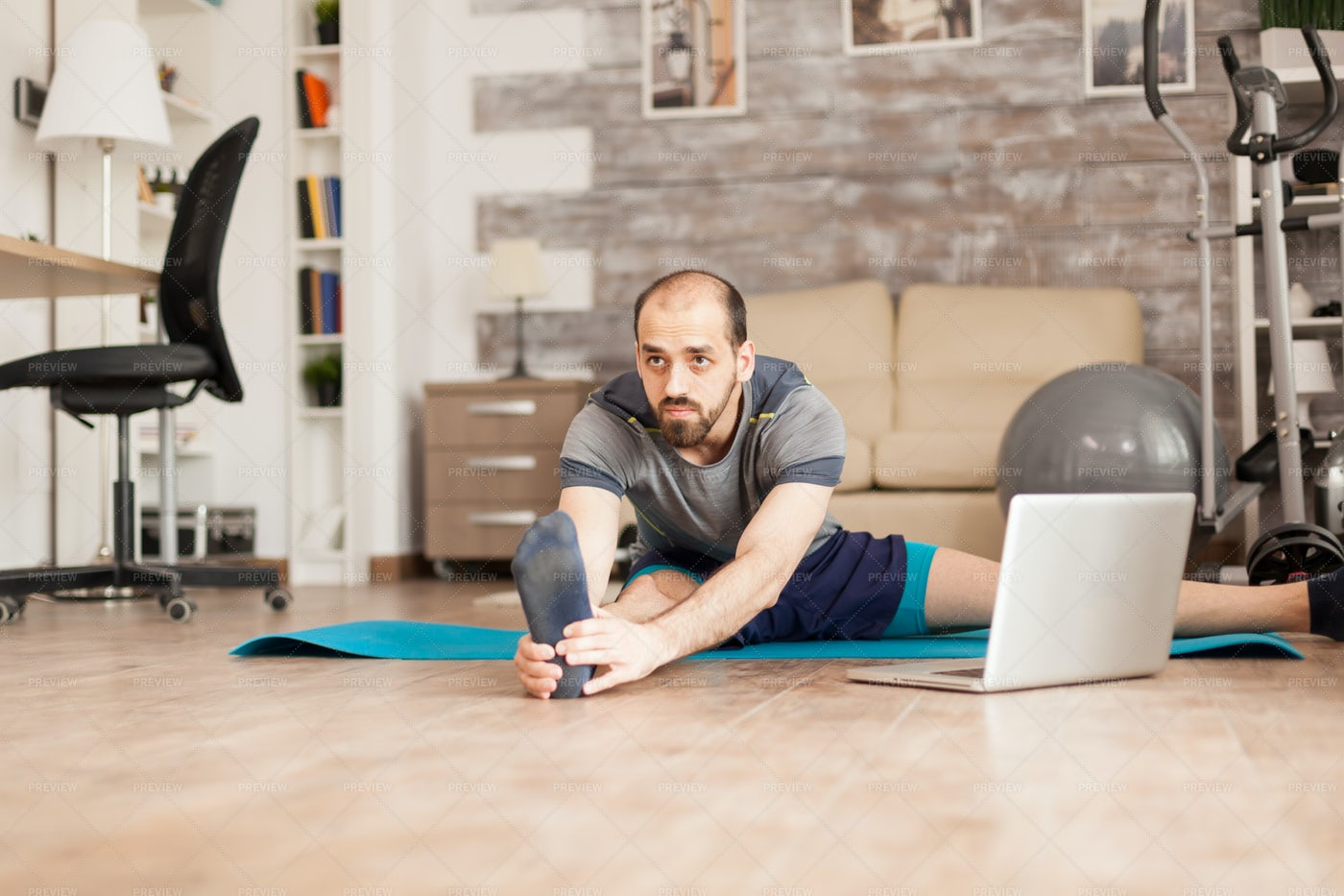 Legs Stretching At Home: Stock Photos