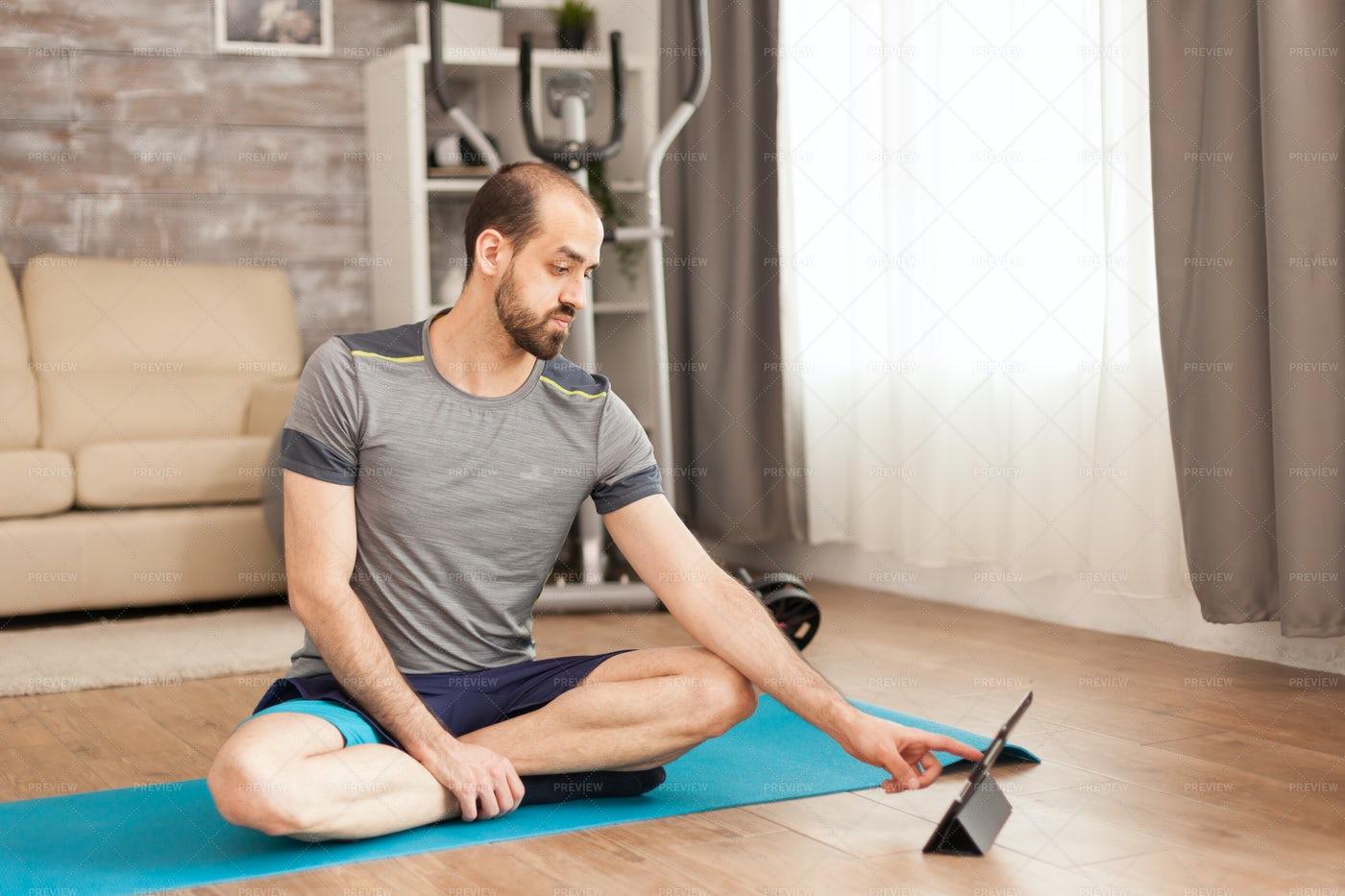 Watching Yoga Online: Stock Photos