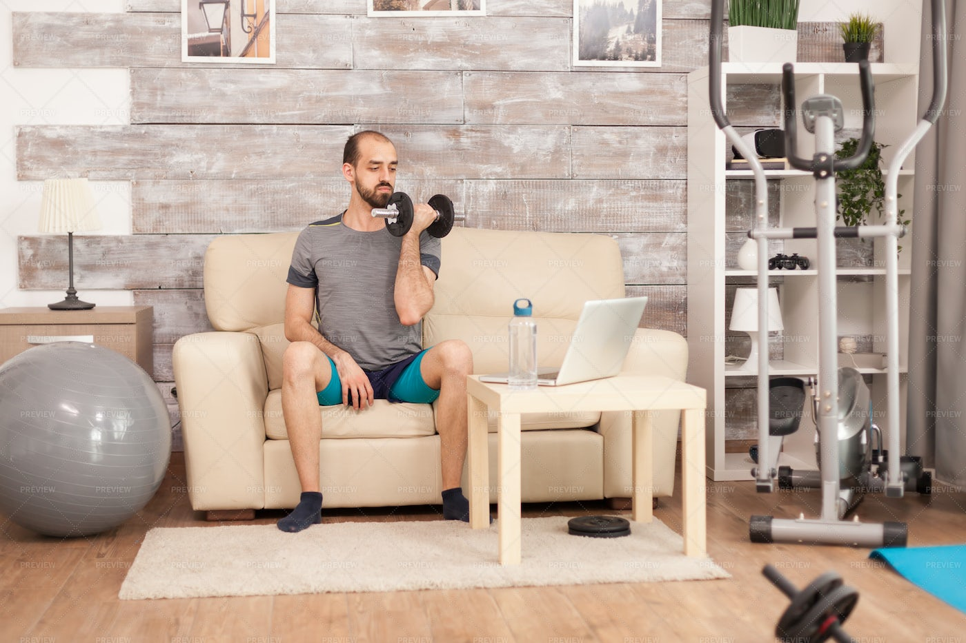 Dumbbell Curls At Home: Stock Photos