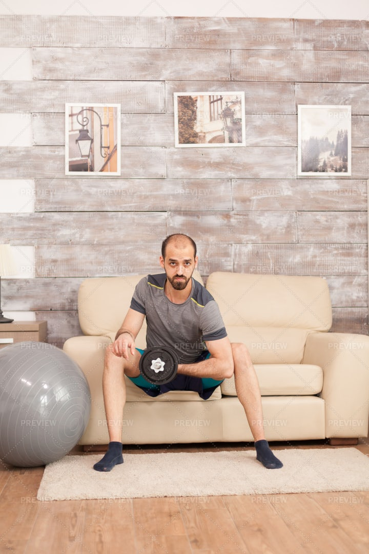 Working Out With Dumbbells: Stock Photos