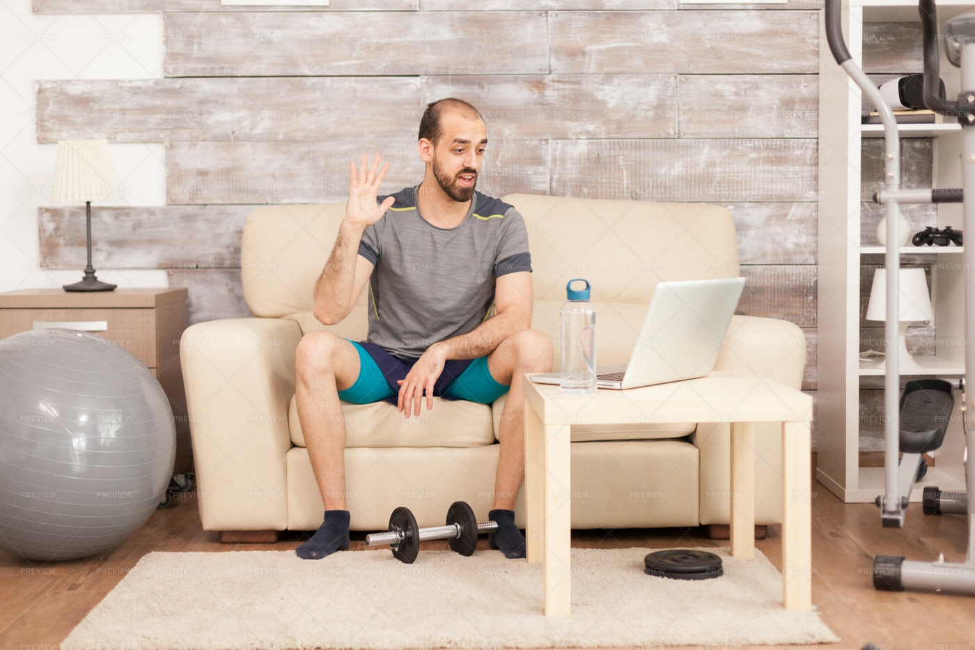 Talking With Personal Trainer: Stock Photos