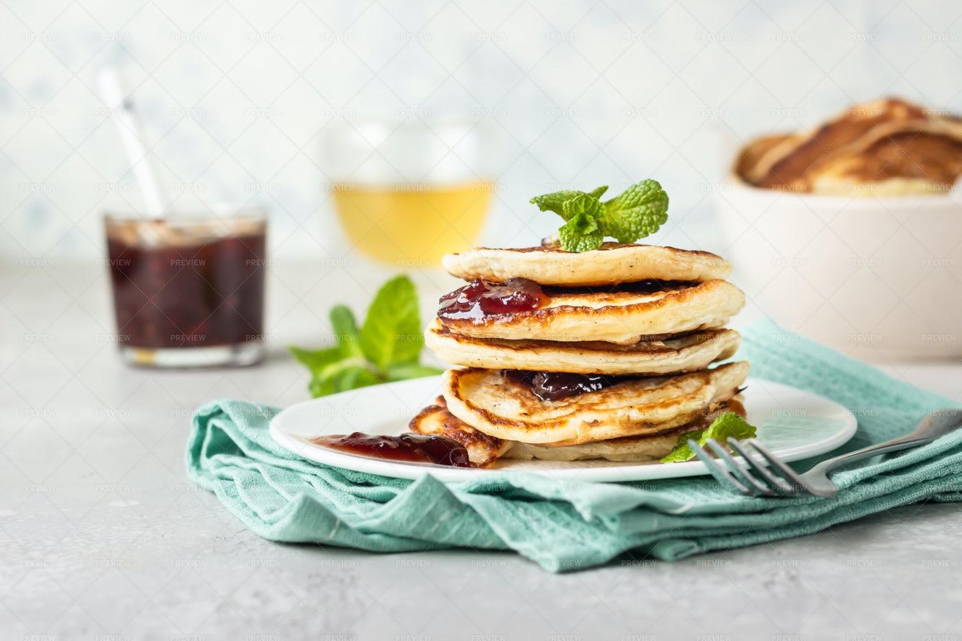 Herbal Tea And Pancakes: Stock Photos