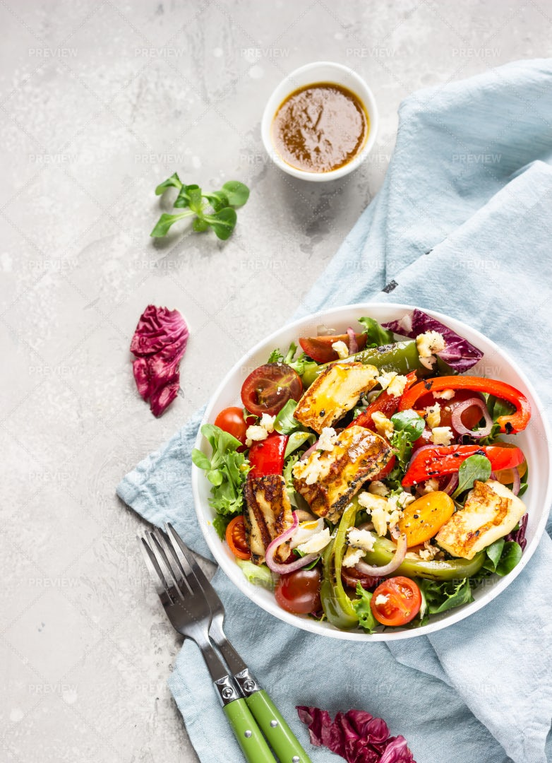 Healthy Salad With Cheese: Stock Photos
