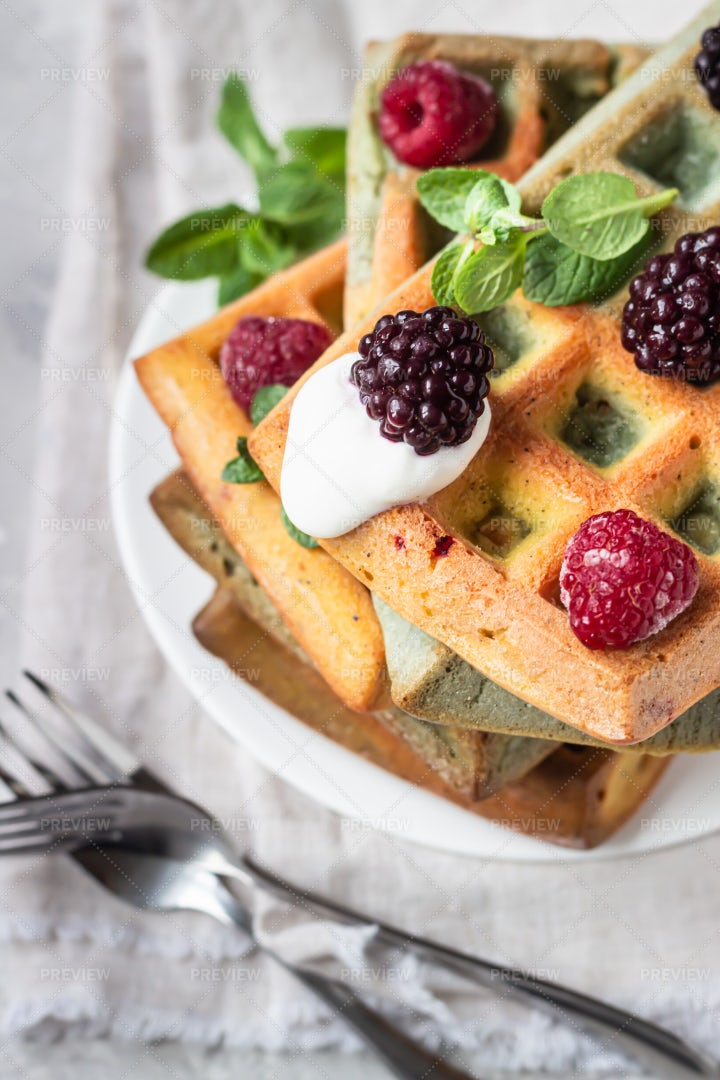 Waffles And Berries: Stock Photos